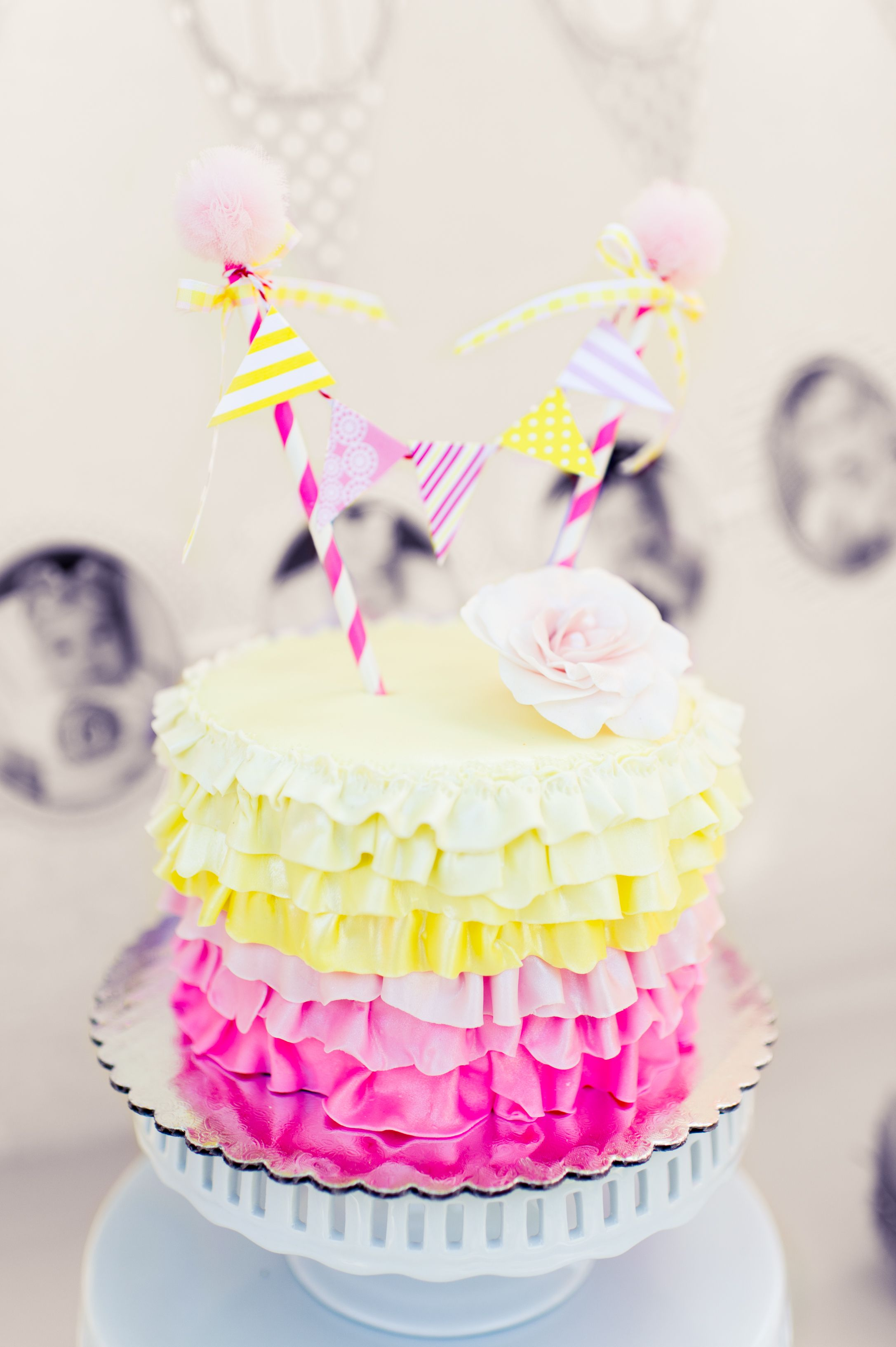 Lemonade Birthday Party Theme Color Yellow And Pink Cake Banner By