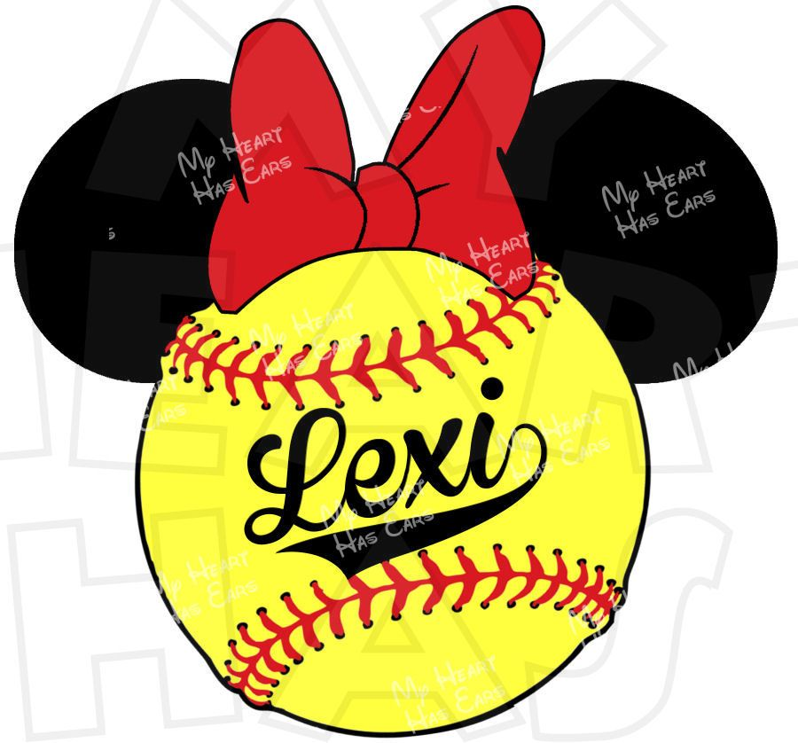 Minnie Mouse Softball PERSONALIZED digital clip art image for iron ...