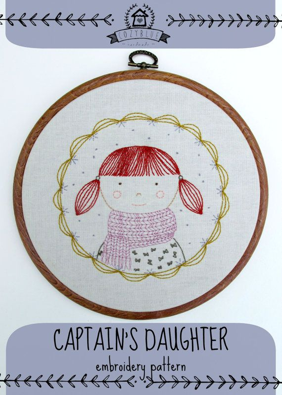 CAPTAIN\'S DAUGHTER- pdf embroidery pattern, girl wearing scarf, red ...