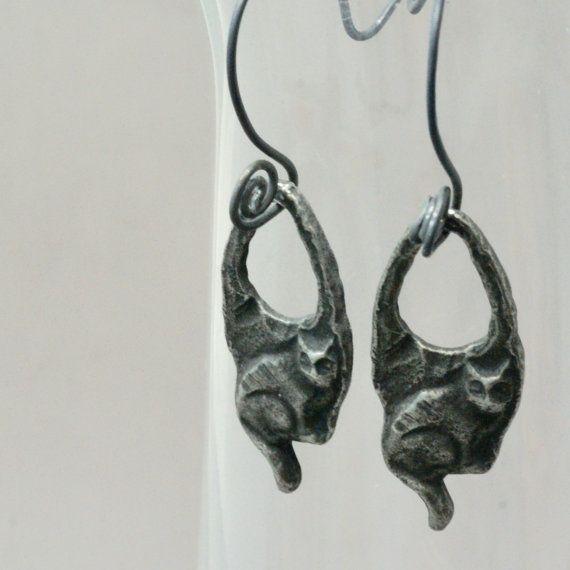 handmade pewter cat earrings cat jewelry pewter by baymoondesign