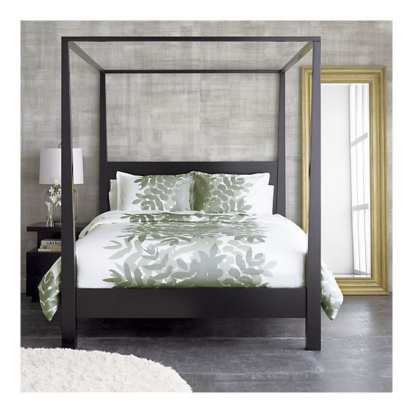 Crate Barrel  Pavillion Black Canopy Bed  four post bed frame  sc 1 st  Pinterest & Add color to your bedroom with a patterned comforter like the ...