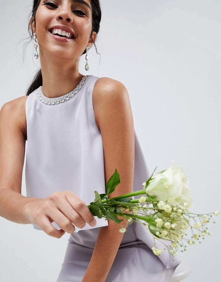 ASOS DESIGN – Maxikleid mit kurzem Oberteil und Perlenbesatz für die ...