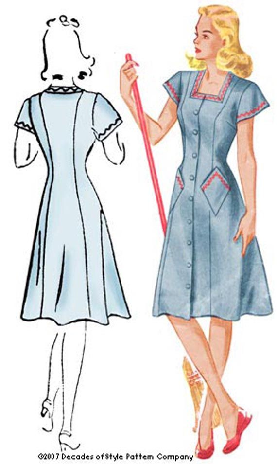 1940s House Dress Pattern by Decades of Style by DecadesPatterns ...