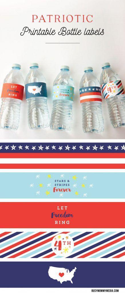 Patriotic Printable Bottle Labels Pinterest Water Bottle Labels