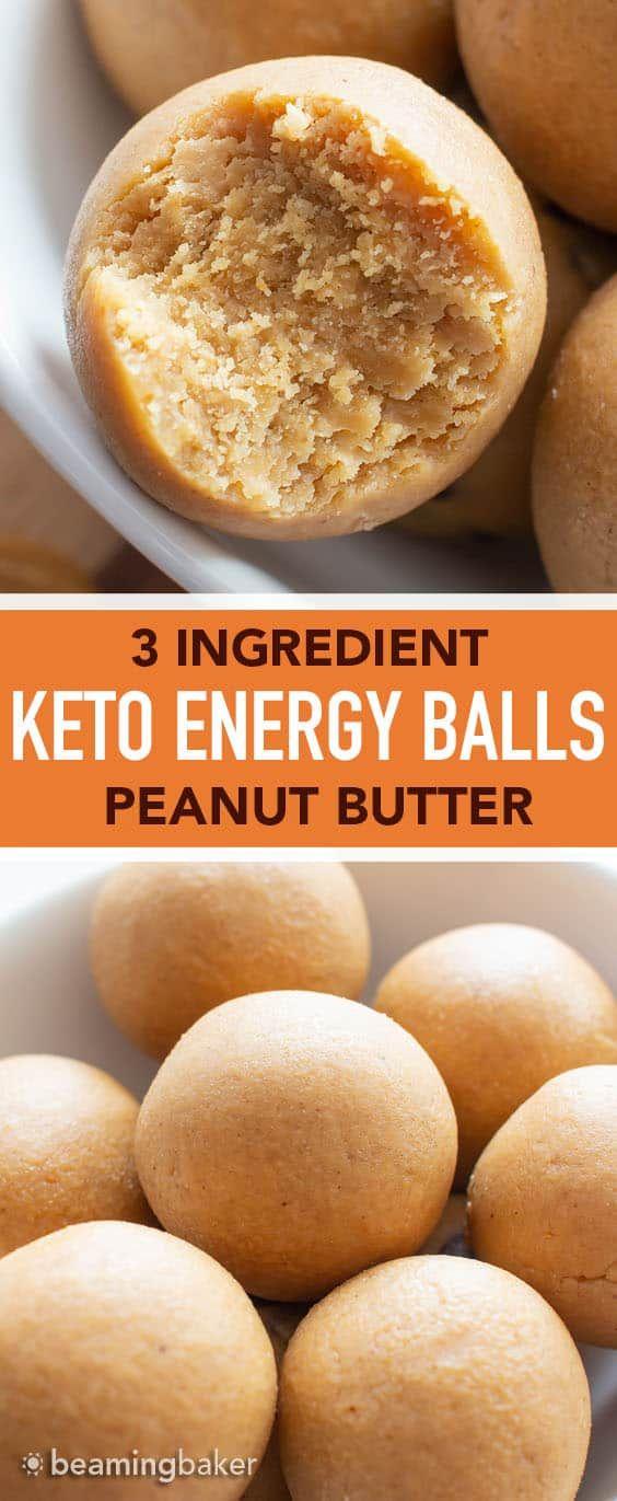 3 Ingredient Peanut Butter Keto Energy Balls Recipe (Low Carb, Vegan)