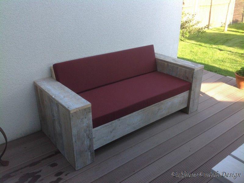 Bauholz Lounge Sofa Garten Balingen White Wash mit Standard 030 - loungemobel garten grau