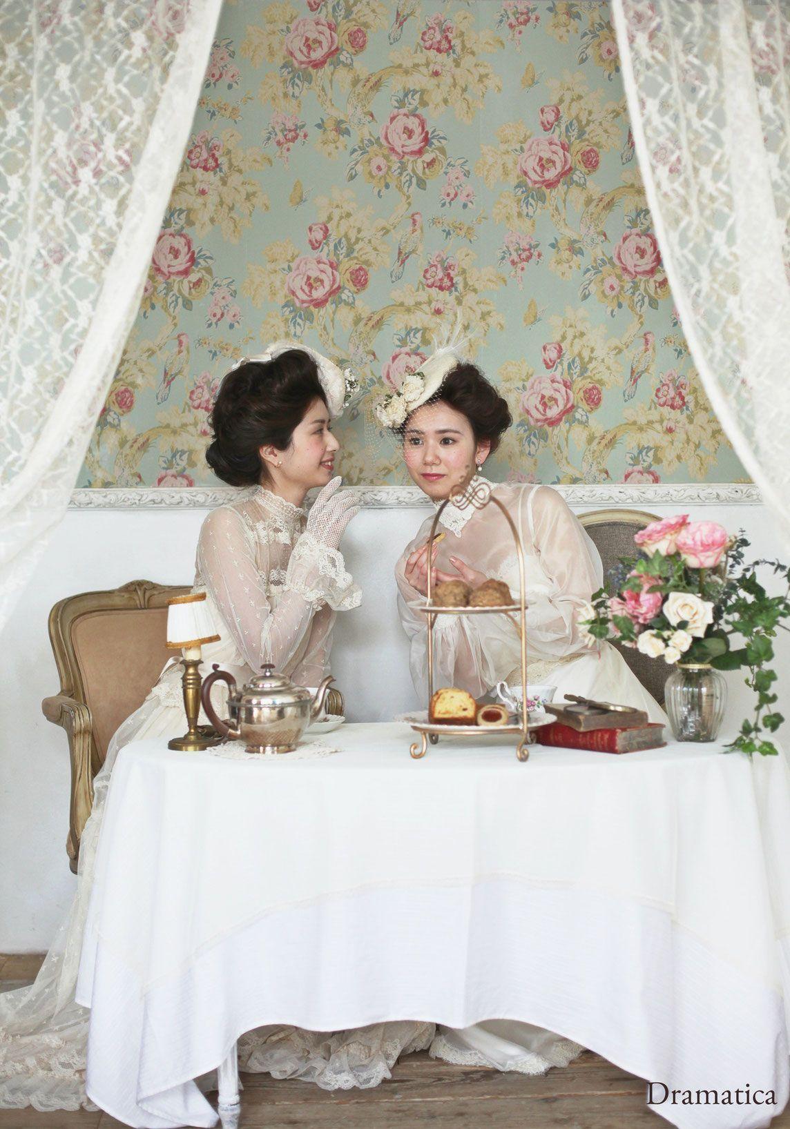 Victorian Tea Party Dramatica Vintage Wedding Dress Styling Rental English Tea [ 1636 x 1144 Pixel ]