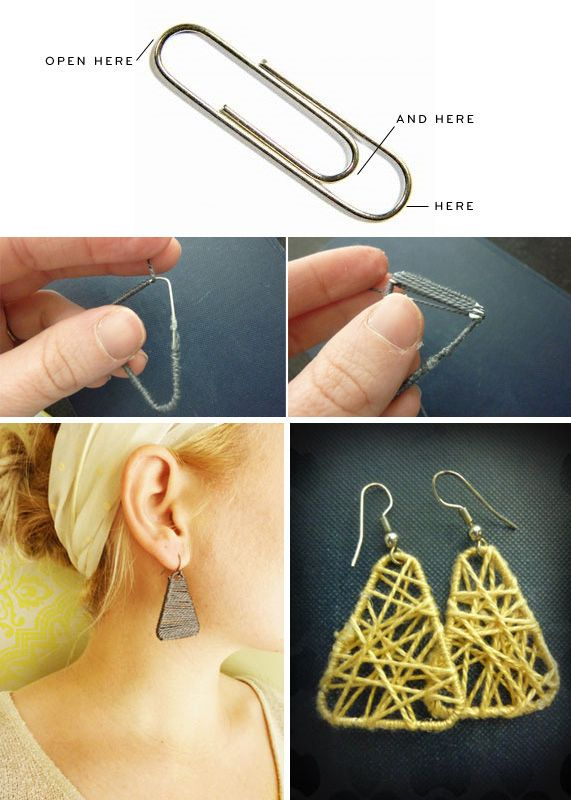 el más nuevo eba23 f7d1d Super Easy Earrings Made of Paper Clips and String ...