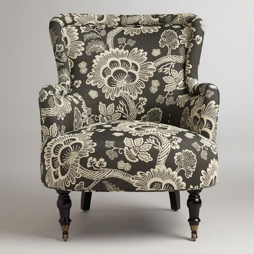 Black And White Floral Reading Chair Black Patterned Chair