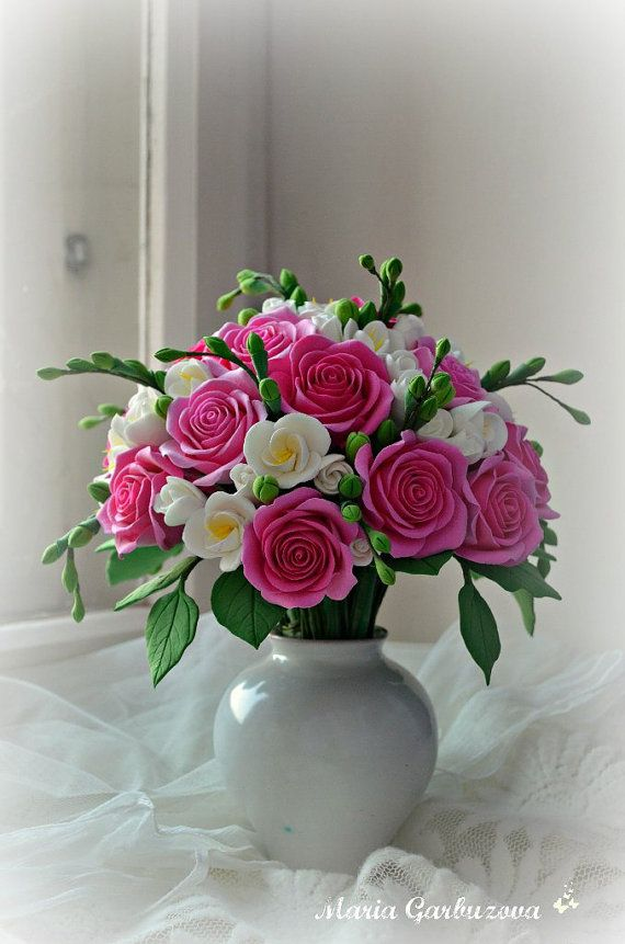 Flowers In The Vase Fl Arrangement Ceramic Beautiful Home Decorations Small Flower Bouquet Birthday Gift