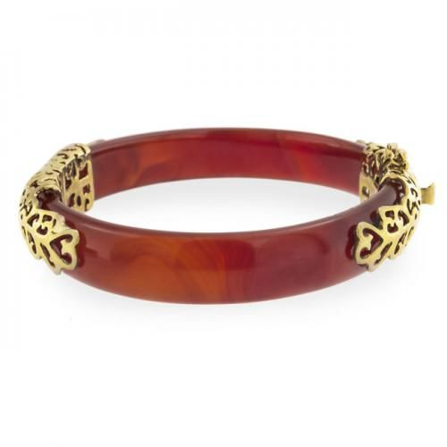 Bling Jewelry Antique Style Gold Vermeil Filigree Carnelian Bangle Bracelet 8in