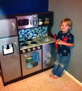 """Plastic Play Kitchen diy play kitchen--awesome ideas! stone spray paint for """"granite"""