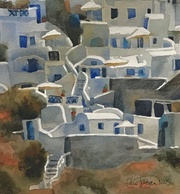 Original Watercolor Painting of Greece by EdieFaganArt on Etsy. This is a charming hillside as our ship came into Santorini - love the Greek life!