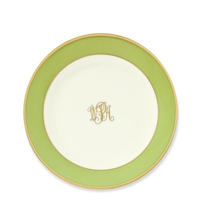 Pickard Color Sheen Bread and Butter Plate, Green Gold Monogrammed