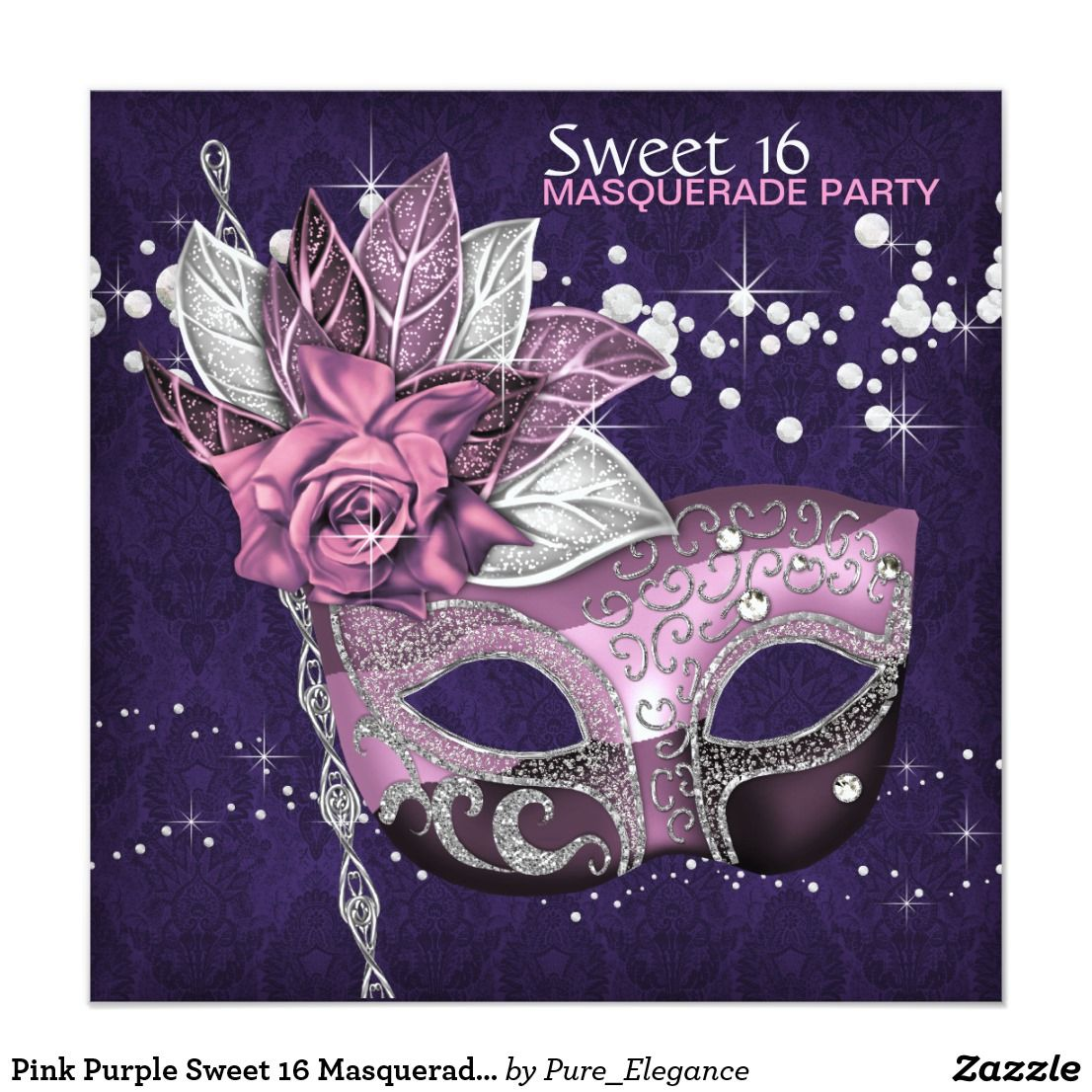 Pink Purple Sweet 16 Masquerade Party Invitation In 2018 Happy
