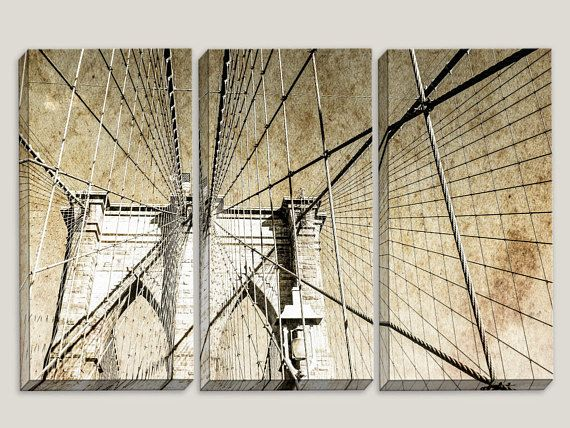 Brooklyn bridge nyc new york blueprint canvas art corporate brooklyn bridge nyc new york blueprint canvas art corporate office decor wall decor triptych man cave industrial wires malvernweather Gallery