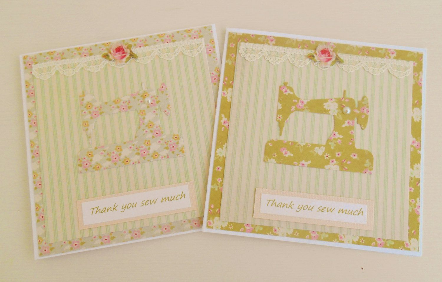 Set Of Two Sewing Themed Thank You Cards. by picocrafts on Etsy