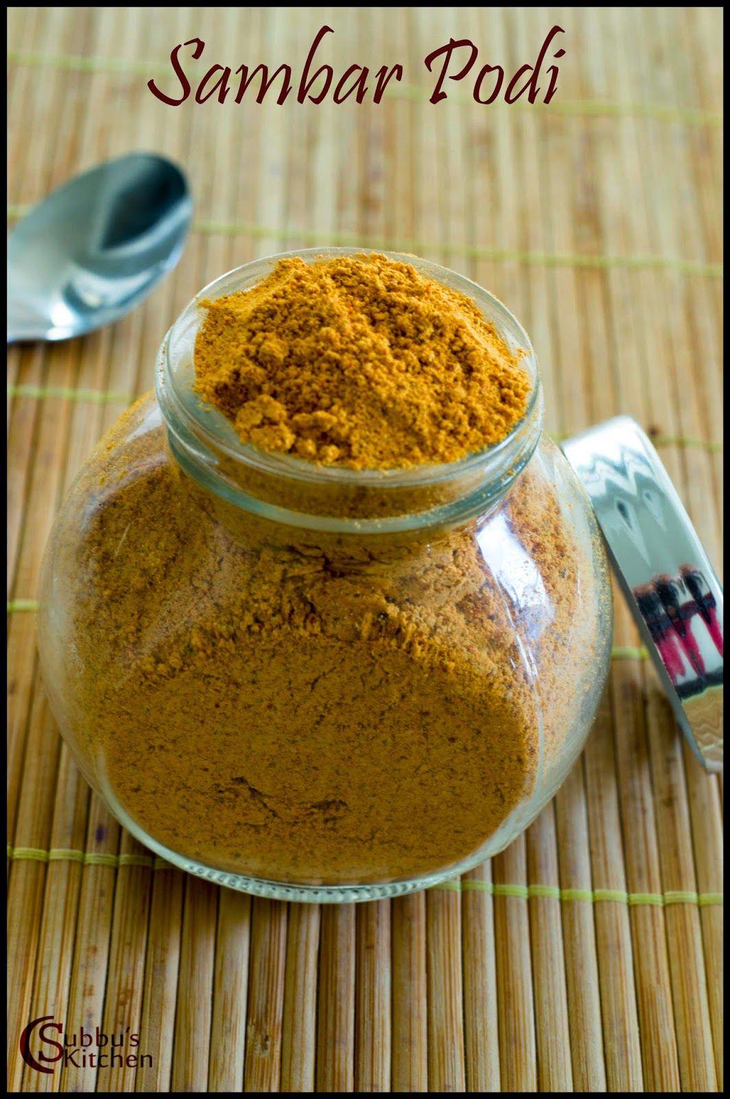 Sambar Podi Sambar Powder Recipe Sweet Meat Homemade Recipes Ingredients Recipes