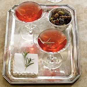 A lovely sipper I developed for holiday entertaining in Cooking Light. Pomegranate-Rosemary Royale | MyRecipes.com