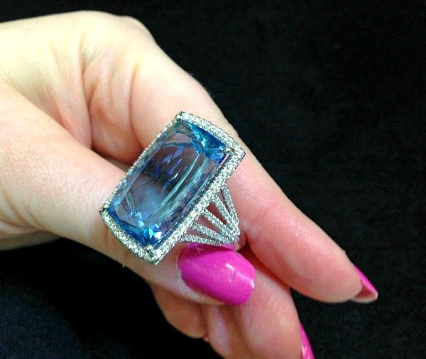 An aquamarine and diamond cocktail ring by Coast Diamond. Via Diamonds in the Library.