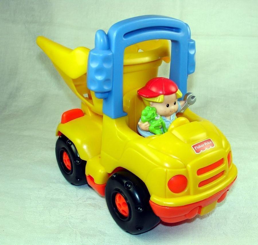 Fisher Price Little People Dump Truck n Driver Flip Bed n Handle #FisherPrice