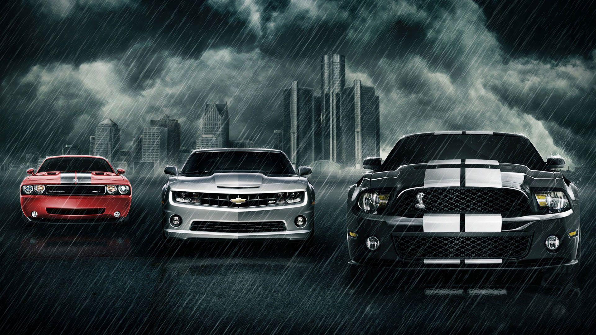 Cars In City Rain Desktop Background Wallpaper Hd 1080p Car Wallpapers Mustang Wallpaper Chevrolet Camaro