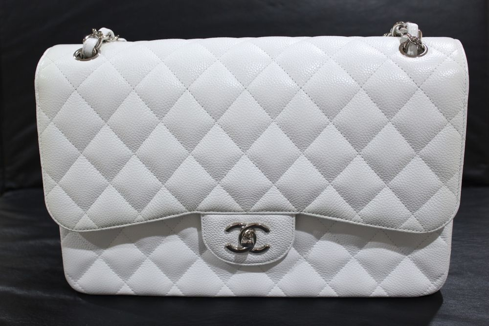 9f83a4084a7870 CHANEL CLASSIC JUMBO DOUBLE FLAP BAG - WHITE CAVIAR - SILVER HARDWARE # CHANEL #ShoulderBag