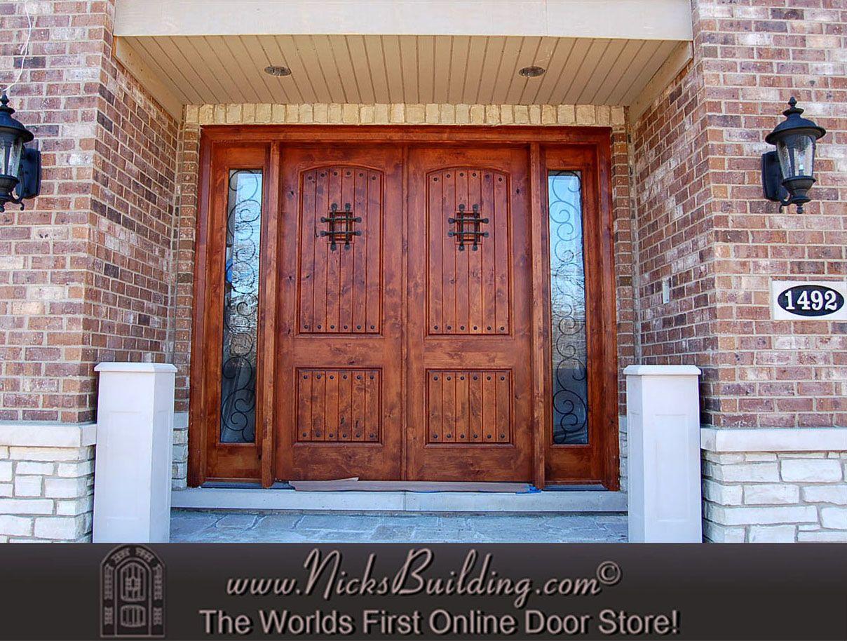 Double Door With Two Sidelites Large Entrance Door Exterior Doors Double Front Doors Wooden Double Front Doors