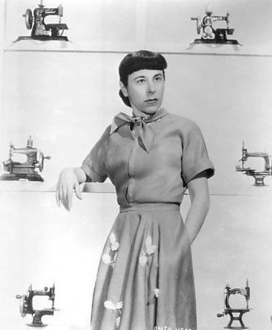Oscar winning costume designer Edith Head without her trademark shades and…