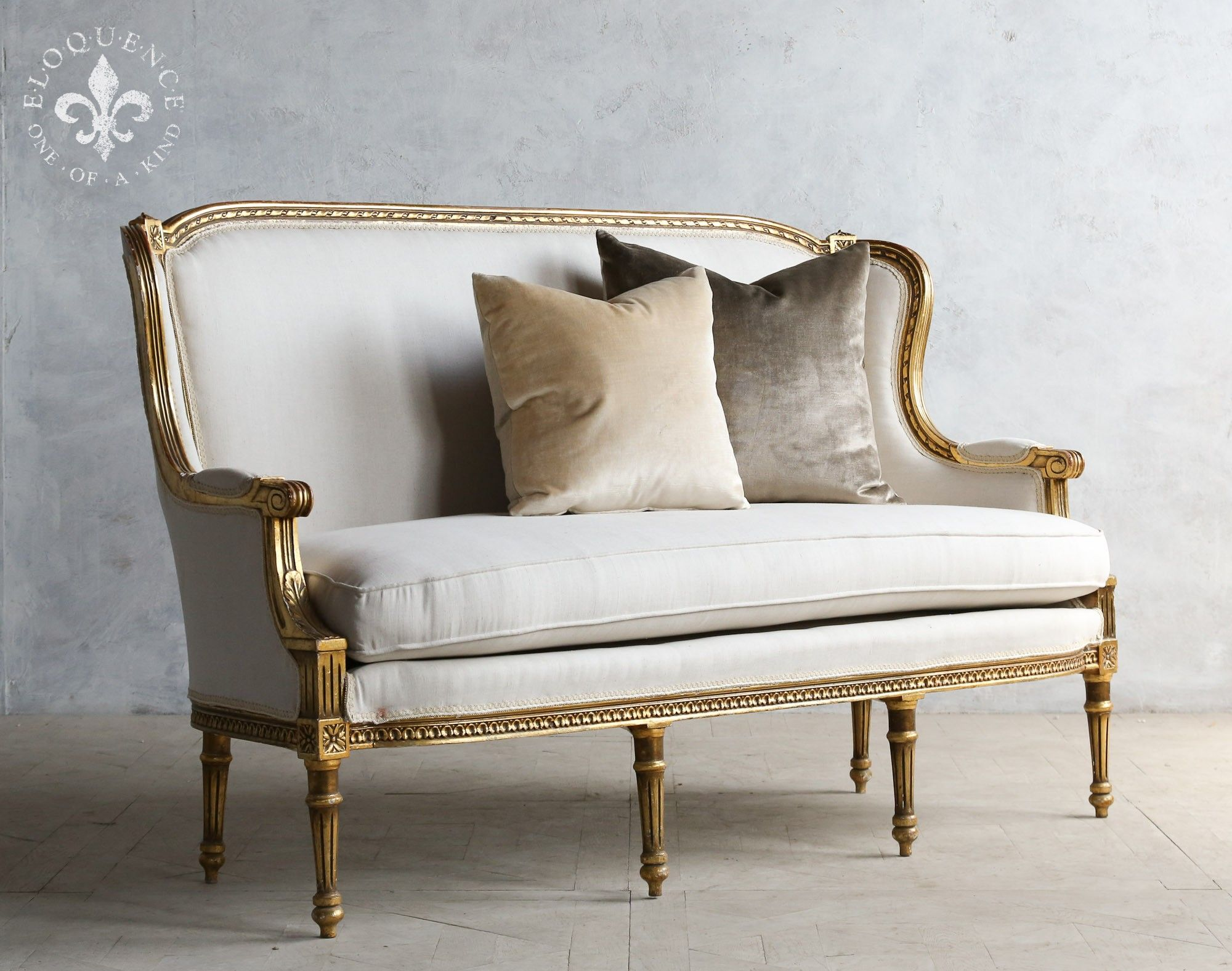 Formal Louis XVI high backed vintage settee with gilt
