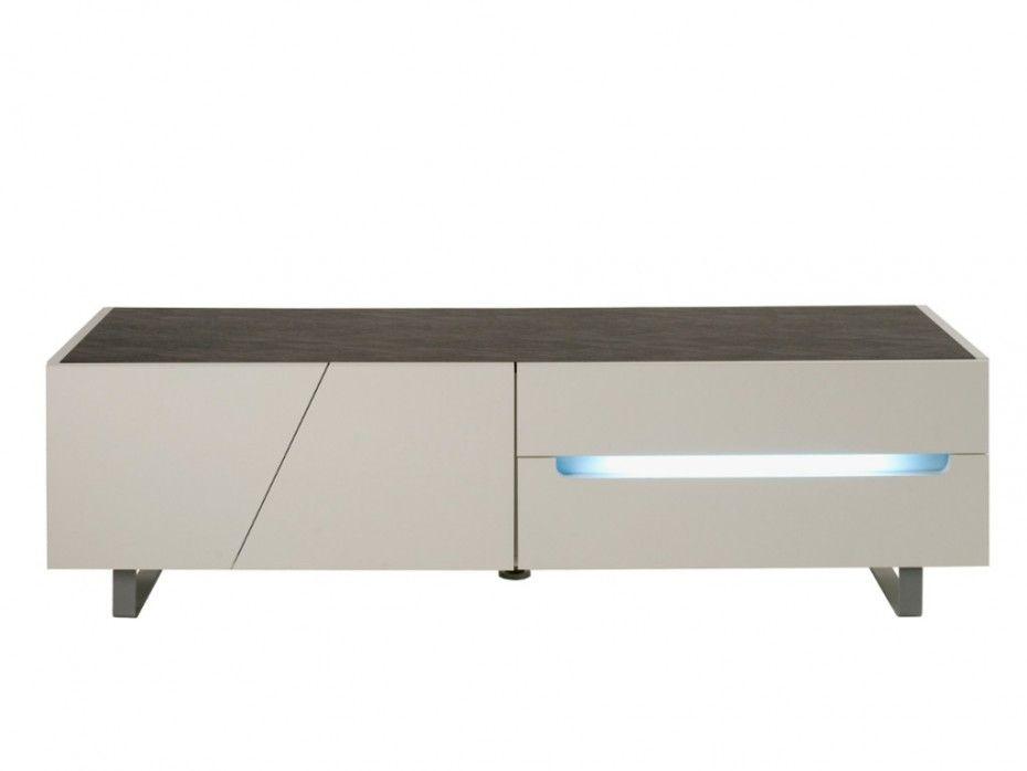Meuble TV ISALINE II avec éclairage - 3 portes  1 tiroir - Laqué - peindre sur peinture laquee