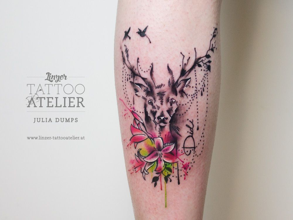 Deer Watercolor Tattoo Aquarell Tattoos Hirsch Tattoo Natur