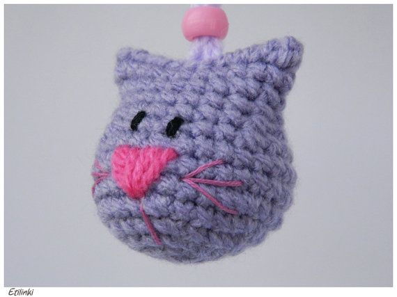 8384e03d12 Crochet Cat Keychain,Handmade Gift for Cat Lover,Animal Amigurumi Charm Kitty  Keyring,Purple Cat Head Embroidered,Cool Key Holder,Katze Gato
