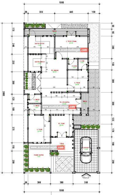 Desain rumah tropis minimalis di lahan 10x20 meter jasa Minimalistisches haus grundriss