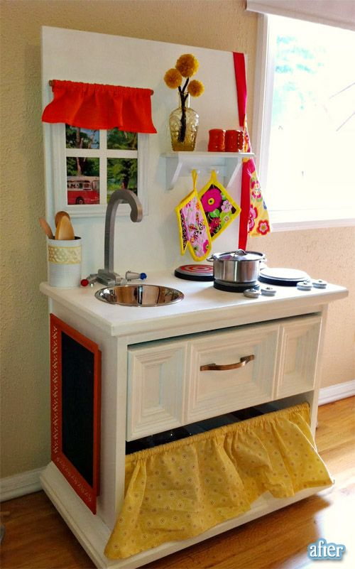 From old end table to adorable play kitchen | Jugueteros, Cocinas de ...