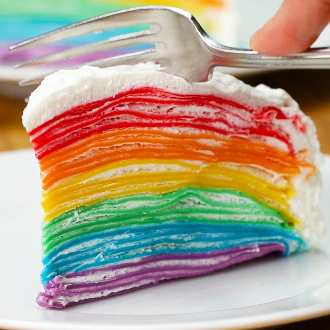 Rainbow Crepe Cake Crepe Cake Recipe Crepe Cake Cake Recipes