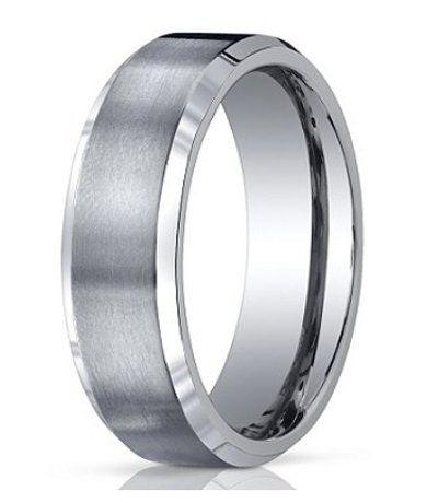 mens benchmark titanium wedding band with satin finish and polished edges 7mm jbt1012 - Titanium Wedding Rings For Men