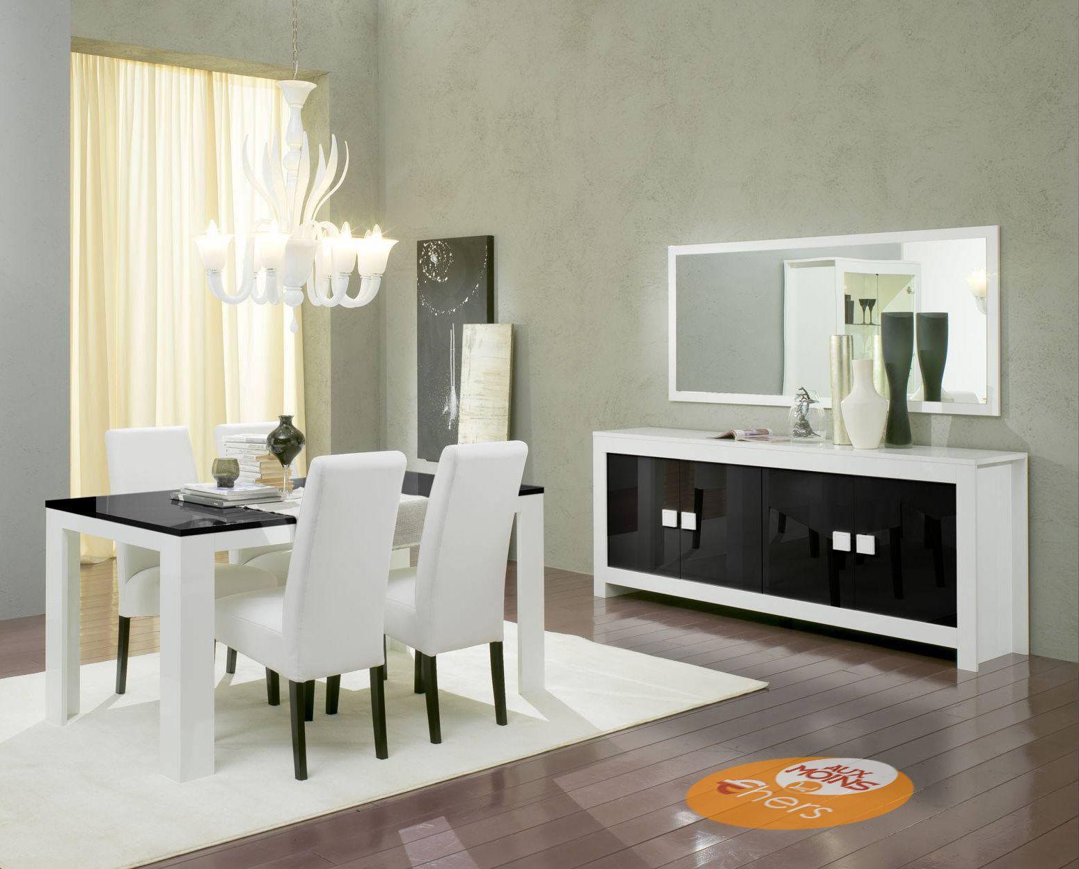 Salle Manger Complte Blanc Et Noir Laqu Picasso Avec Bahut 207 X 44