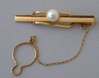 18kt Yellow Gold Gentlemens Tie Bar with Cultured Pearl - Edit Listing - Etsy
