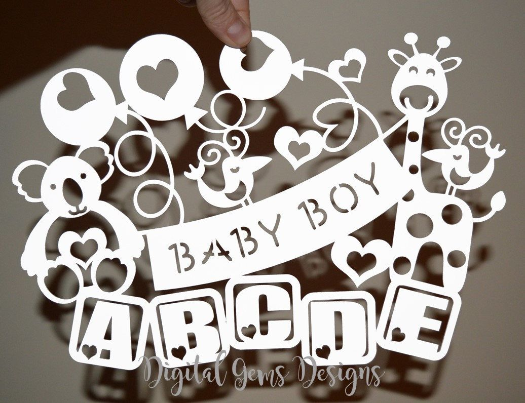 Boy Baby Paper Cut Svg Dxf Eps Files And Pdf Png