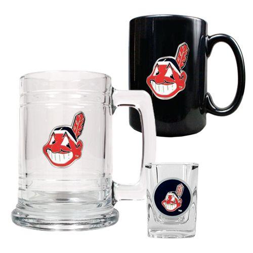 Cleveland Indians Beer Mug Shot Glass and Ceramic Mug Set