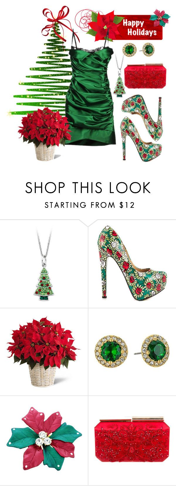 """Happy Holidays"" by dogzprinted ❤ liked on Polyvore featuring TaylorSays, Lauren Ralph Lauren, Oscar de la Renta, GreenDress, greenandred and ChristmasDress"