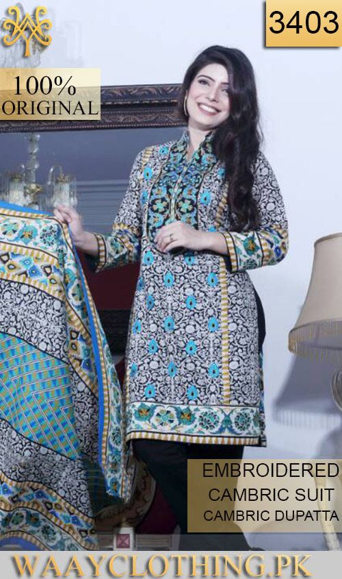 Wyfs 3403 Front Embroidery Designer 3pc Cambric Suit With Cambric