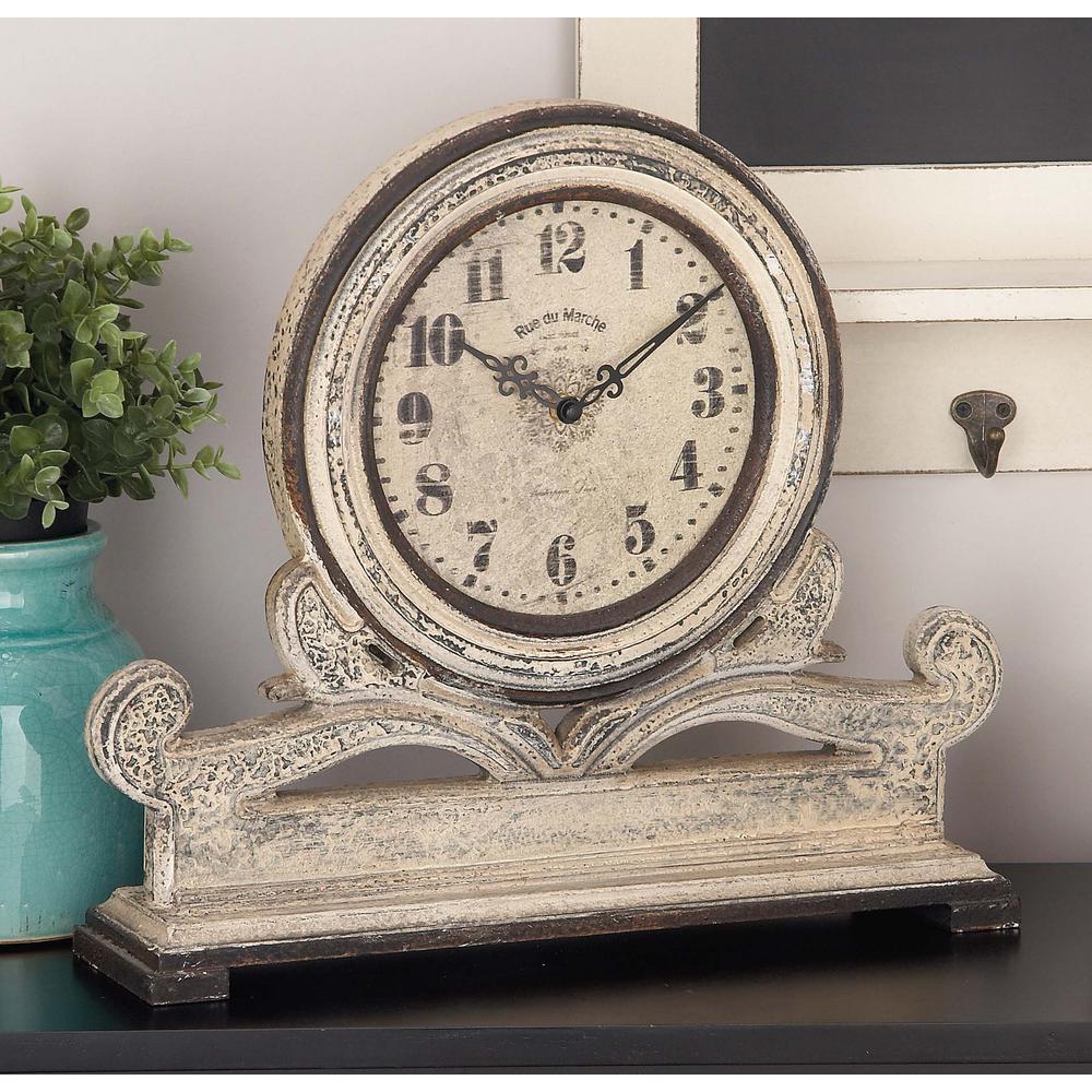 Litton Lane Rustic 15 In X 16 In Table Clock Table Clock