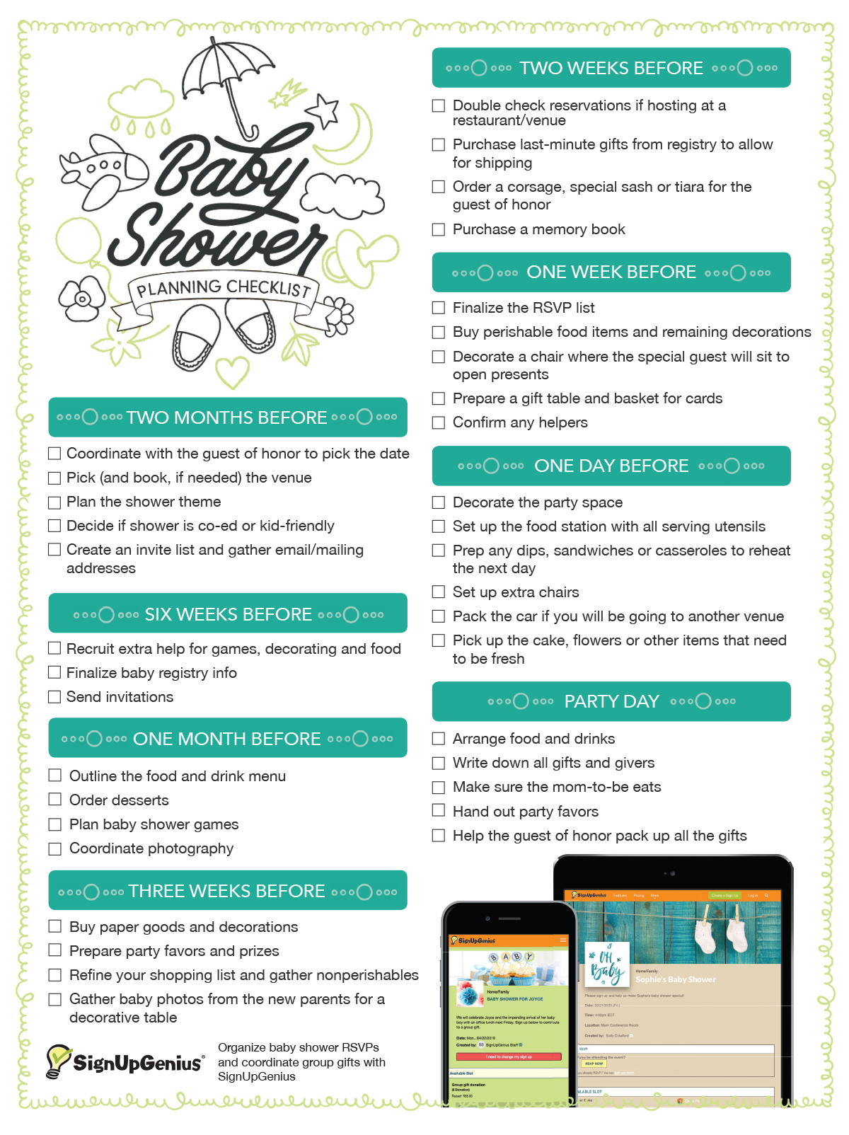 Baby Shower Planning Checklist. Get this printable checklist that walks you  through a timeline and ideas for planning a creative baby shower.