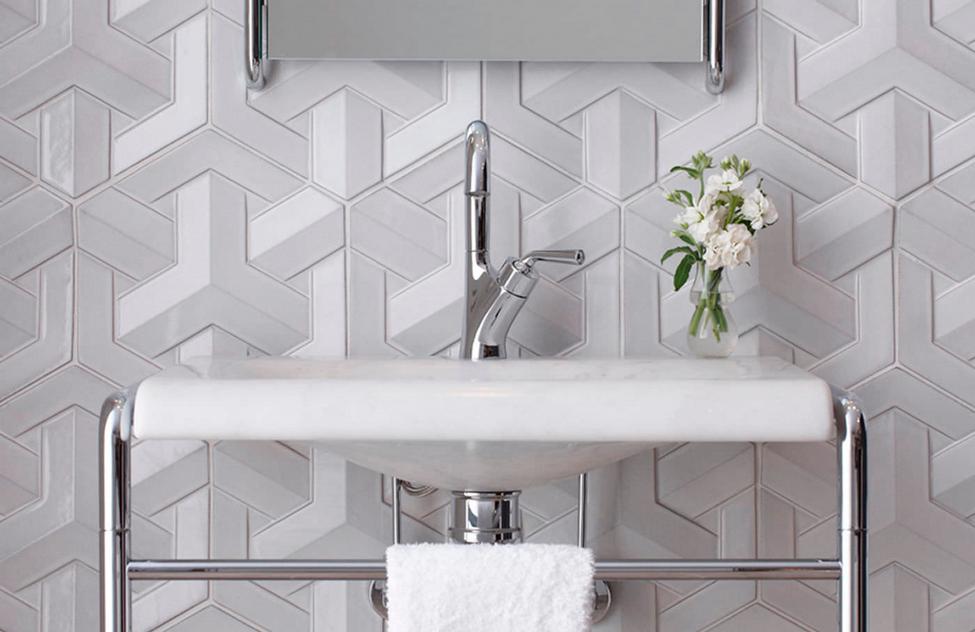 Trending In Bathroom Decor Sophisticated 3 D Wall Tiles Ann Sacks Tiles Small Bathroom Tiles Bathroom Tile Ideas Master