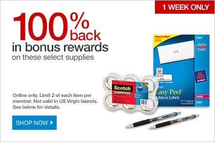 FREE AFTER REBATE \u2013 Mailing Labels and Pens at Office Get FREE