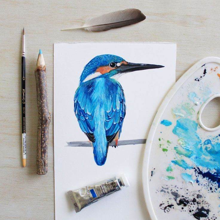 Kingfisher Painting Gouache Water Colour Art By Printspiring