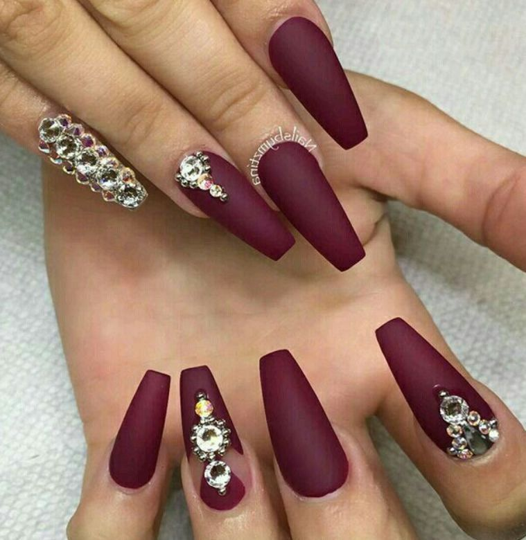40 Most Stunning Dark Red Colour Acrylic Nails And Matte