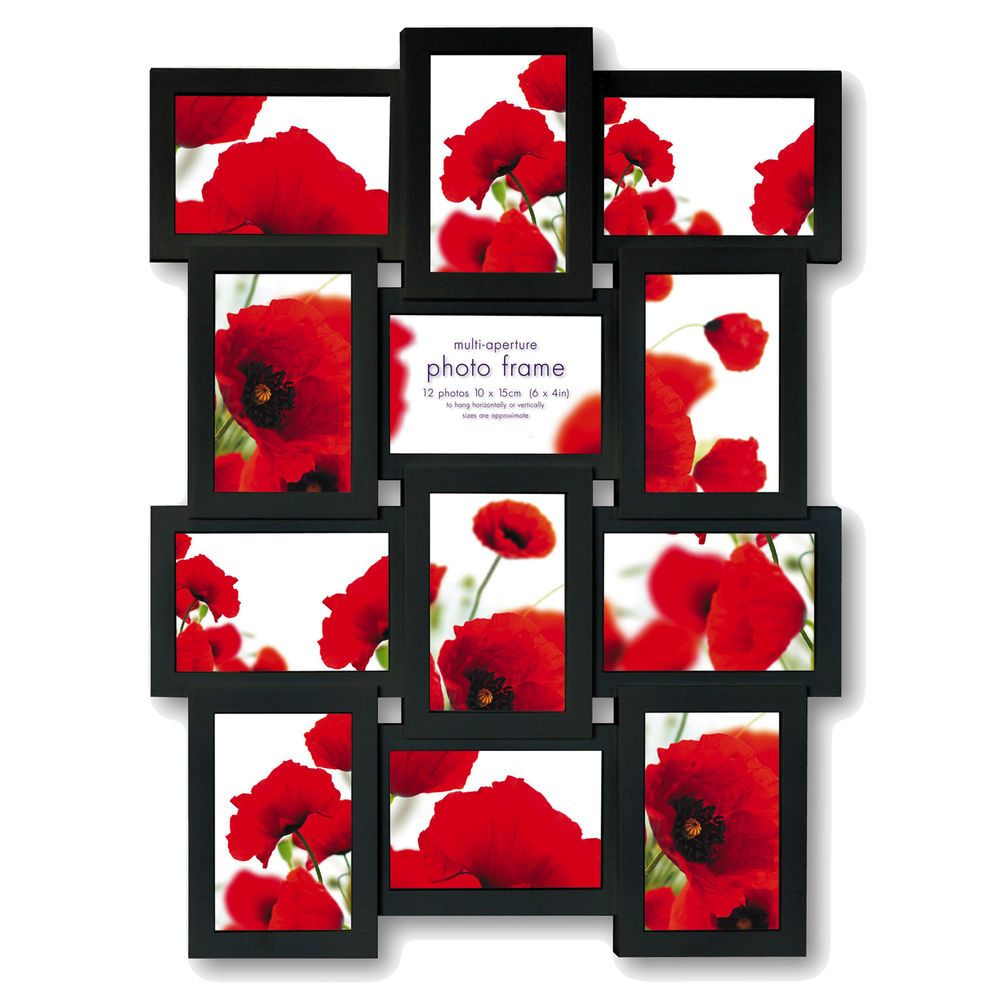 Extra Large Multi Aperture Black Photo Frame for 12 6x4 Photos ...